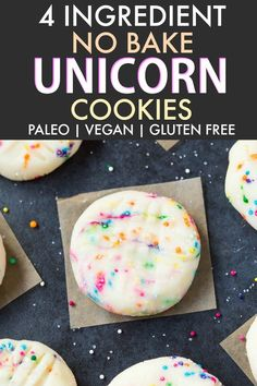 Healthy No Bake Unicorn Cookies (V, GF, DF, P)- no bake cookies inspired by the unicorn frappuccino- Ready in 5 minutes Dessert Sans Gluten, Paleo Dessert, Gluten Free Desserts, Vegan Desserts, Plated Desserts, Party Desserts, No Bake Desserts, Paleo Vegan, Healthy Sweets