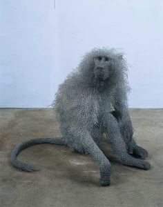 haste_seatedmalebaboon....wire art sculpture by kendra  haste. Kendra Haste has been obsessed with animals for most of her life. The UK artist is well known for her wire mesh animal sculptures, particularly the Royal Beasts, a commission for Tower of Londonconsisting of thirteen sculptures that help tell the story of the Royal Menagerie.