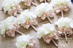 Hydrangea Boutonniere blusk pink ribbon by MissHanaFloralDesign