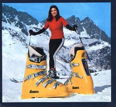 """Winter Astral Olympic - These were called """"Banana Boots"""" - They were also the cause of yellow snow. Go Skiing, Alpine Skiing, Ski Ski, Vintage Ski, Vintage Posters, Ski Mountain, Ski Equipment, Ski Posters, Ski Boots"""