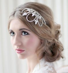 Bridal headdress, wedding headband, bridal tiara, bridal hair accessory - Avalon. ££210.00 GBP, via Etsy.