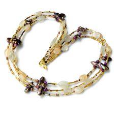 Sparkling Triple Strand Handmade Necklace Cream by ALFAdesigns