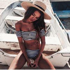 Sexy Off-the-shoulder Striped Bikini Swimsuit | fashionstyle -  on ArtFire