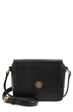 Tory Burch 'Mini Robinson' Saffiano Leather Crossbody Flap Bag available at #Nordstrom