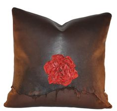 Western Red Rose Pillow by CowhideMirrors on Etsy, $125.00