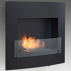 Wynn Wall Mount Ethanol Fireplace - Matte Black   WoodlandDirect.com: Indoor Fireplaces: Gel & Ethanol, Eco-Feu
