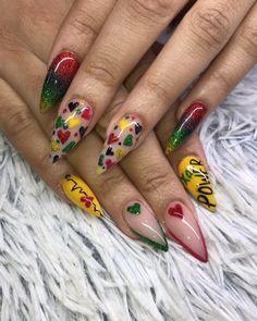 Fingernail Designs, Cute Nail Art Designs, New Nail Designs, Colorful Nail Designs, Get Nails, Hair And Nails, Jamaica Nails, Jolie Nail Art, Hollywood Nails