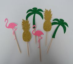 Tropical Cupcake Toppers Jungle Party Flamingo Cake Topper