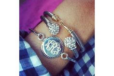 Monogram Bracelet with Rachael Cuff and Lyon Cuff Bracelets