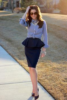 Peplum & Pinstripe & Pearls- makes for a cute work outfit