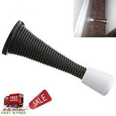 Stanley Hardware Spring Door Stop in Black Installation Rubber Bumper Home Tools #StanleyHardware
