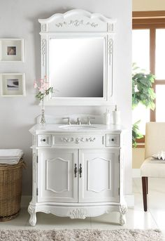 "Chans Furniture - 36"" classic style antique white Fairmont Bathroom Sink Vanity & Mirror Set BC-3905W-AW-36MIR"