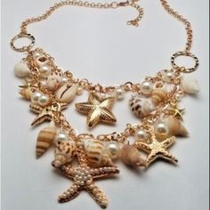 Gold Tone Faux Seashell Bib Necklace Starfish Sea Life #Unbranded #Bib Halloween Costume Accessories, Beautiful Necklaces, Starfish, Sea Shells, Gold, Life, Ebay, Jewelry, Jewlery