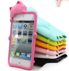 Hello Deere Lovely 3D Cat Cartoon iPod touch 4 Soft Silicone Case Cover for iTouch 4g 4th Generation