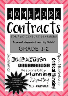 Homework Contracts for the 21st Century Learner - Grade 1-2  These weekly contracts allow for differentiation in the classroom. How? Students choose the activities they wish to complete from the week's menu of compulsory/free choice activities.