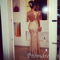 2015 sexy open back sequins golden chiffon tight mermaid prom dress, ball gown, evening dress, grad dress, cute+dresses+for+teens #promdress