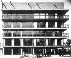 Vista de la fachada principal, Edificio de apartamentos, (dirección desconocida calle), Ciudad de México 1965  Arq. David Cymet Lerer -   View of the main facade, Apartment building, (street address unknown), City of Mexico 1965