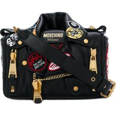 Moschino biker jacket shoulder bag ($2,190) ❤ liked on Polyvore featuring bags, handbags, shoulder bags, black, moschino handbags, magnetic closure leather handbags, moschino purse, real leather handbags and real leather shoulder bags