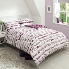 Ideal Bedding | Duvet Covers| Bedsheets | Pillowcase Pieridae Sleep Text Duvet Quilt Bedding Cover and Pillowcase Bedding Set
