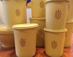 Tupperware 18 Pc Harvest GOLD Decorator Canisters COOKIE SNACK Servalier Instant | eBay