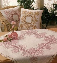 Cross Stitch Tablecloth and Cushion Beaded Cross Stitch, Cross Stitch Borders, Crochet Cross, Cross Stitch Flowers, Cross Stitch Charts, Cross Stitch Designs, Cross Stitching, Cross Stitch Embroidery, Cross Stitch Patterns