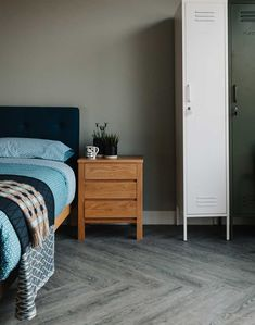 Shaker 3-drawer bedside unit with the Arran bed and locker storage units - all from Natural Bed Company