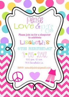 12 Peace Love Pjs Pajama Party Sleepover Slumber Party  Birthday Party  invitations with envelopes. $12.50, via Etsy.