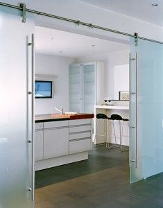 Glass sliding barn door. Perhaps a frosted glass one for the master bedroom.