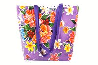 Large Purple Hibiscus Reversible Oilcloth Totebag  ~ oilclothalley.com ~