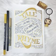 Beauty and The Beast inspired piece by: Lettering by Mhel // Hand lettering, Brush Calligraphy, Lefty Lettering, calligraphy, script, Disney