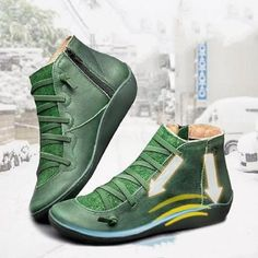 New Fashion All Season Women's Medieval Arch Support Ankle Boot Casual Bandage Weaving Leather Short Boots Braided Strap Flat Heel Boots Waterproof Slip on Shoes Ladies Winter Round Toe Ankle Boots Sapatos Femininos Plus Size Flat Heel Boots, Wedge Ankle Boots, Leather Ankle Boots, Leather And Lace, Pu Leather, Heeled Boots, Lace Up Shoes, Slip On Shoes, Shoes Heels