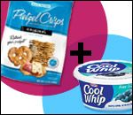 Pretzel Chips topped with Cool Whip, add another pretzel chip to make a sandwich, then freeze for 30 minutes (HG Couples)