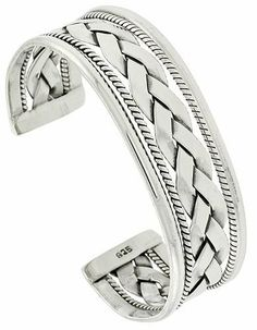 Sterling Silver Celtic Braid Wire Cuff Bangle Bracelet 20 mm (3/4 in.) wide Sabrina Silver. $230.45