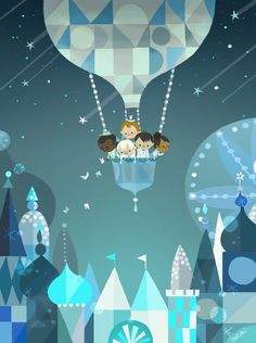 It's a Small World celebration by Joey Chou - Mary Blair inspired もっと見る Art And Illustration, Illustrations Posters, Mary Blair, Balloon Rides, Air Balloon, Balloons, Disney Kunst, Disney Art, Joey Chou