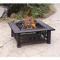 This fire pit is the perfect addition to your backyard or patio. Cozy up around the fire with a fire pit made out of rust-proof material that also gives it a rustic look.