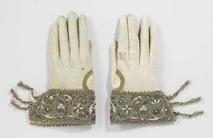Bridal Glove: ca. 1600-1625, Dutch, calfskin leather, cuffs embellished in silk, silver wire, freshwater pearls, silver spangles.