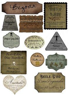 Treasure Junkie: DIY - Free Harry Potter Halloween Labels - Printable