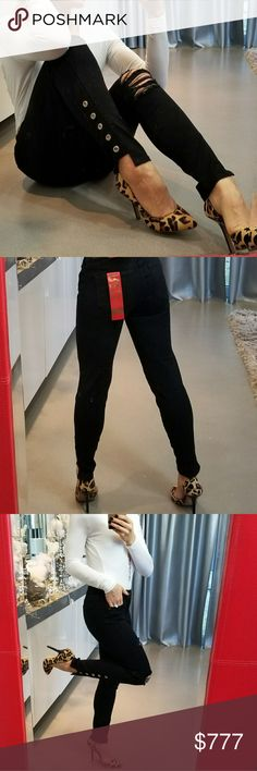 Distressed black denim jeans Brand new with tags  Grab this sassy black denim jeans with distress rips on legs, modern cut out at ankle and eyelet details!! True to size. Super comfortable. These pants will be a staple in your closet!!!  Mid rise Skinny fit True to size 5 pockets 44% cotton 32%polyester 22%rayon 2%spandex Celebrity Pink Jeans
