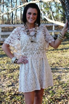 Giddy Up Glamour  37024 Lovely in Ivory Lace - 2 Piece Lace/Crochet Dress  Price: $46.95  Sizes: Medium, Large, XLarge  http://www.giddyupglamouronline.com/catalog.php?item=3618