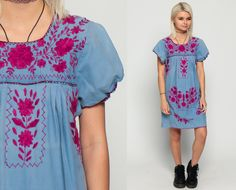 MEXICAN Embroidered Dress Mini PUFF SLEEVE Boho Cotton Tunic 70s Hippie Floral Ethnic 80s Bohemian Vintage Embroidery Blue Small Medium by ShopExile on Etsy https://www.etsy.com/listing/292364349/mexican-embroidered-dress-mini-puff
