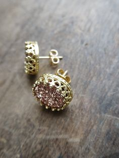Rose Gold Druzy Studs in Yellow Gold Gold Crown by AmuletteJewelry