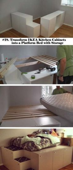 Watch this guy transform IKEA kitchen cabinets into a platfo.- Watch this guy transform IKEA kitchen cabinets into a platform bed with storage Watch this guy transform IKEA kitchen cabinets into a platform bed with storage - Platform Bed With Storage, Diy Platform Bed, Ikea Platform Bed Hack, Decor Room, Diy Home Decor, Diy Teen Room Decor, Diy Lit, Ikea Kitchen Cabinets, Kitchen Storage