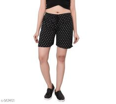 Shorts Stylish Cotton Hosiery Women's Shorts  *Fabric* Cotton Hosiery  *Waist Size* S - 26 in, M - 28 in, L - 30 in  *Length* Up To 18 in  *Type* Stitched  *Description* It Has 1 Piece Of Women's Shorts  *Work* Printed  *Sizes Available* S, M, L *   Catalog Rating: ★4 (466)  Catalog Name: Destiny Fabulous Cotton Hosiery Women's Shorts CatalogID_114450 C79-SC1038 Code: 012-967451-