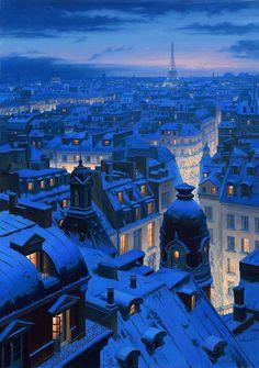 Snowy Night in Paris, France. Read more about Paris: goo. Beautiful World, Beautiful Places, Paris Winter, Paris Snow, Paris Paris, Belle Villa, Grand Tour, Blue Aesthetic, Scenery