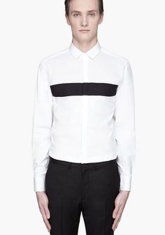 White Paneled Tuxedo Shirt by Neil Barrett