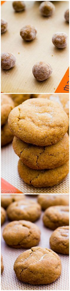 A recipe for soft, thick, and puffy gingersnap molasses cookies. You can make them with butterscotch chips, white chocolate chips, or regular chocolate chips!