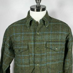 Mens Vintage Pendleton Wool Shirt Size M Moss Green Black Tweed Plaid Rockabilly Casual Shirts For Men, Men Casual, Pendleton Wool, Vintage Men, Rockabilly, Tweed, Plaid, Shirt Dress, Best Deals