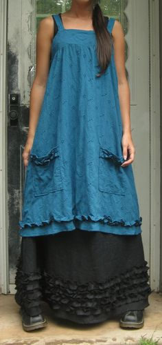 Teal Eyelet Short Pinafore M. $145.00, via Etsy.