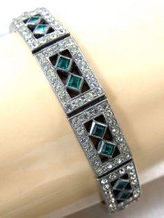Art Deco Green Clear Rinestone Bracelet Engel by TonettesTreasures, $89.99