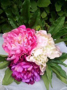 BOUQUET mariée ou déco 3 PIVOINES assorties fleurs artificielles EFFET NATUREL